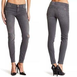 Hudson Krista Super Skinny distressed gray jeans